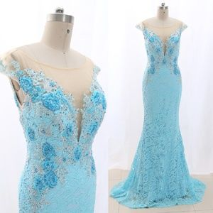 Mermaid Lace Blue Pageant Gown Prom Evening Dress